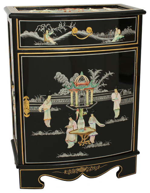 Oval Front Shoe Cabinet - Asian - Shoe Storage - by Oriental Furniture