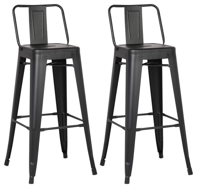 Barstools Matte Black Set Of 2 Industrial Bar Stools