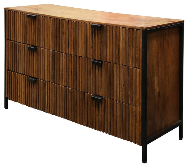 Vertical Fluted Design 6 Drawer Chest Natural Finish Industrial Dressers By Stylecraft