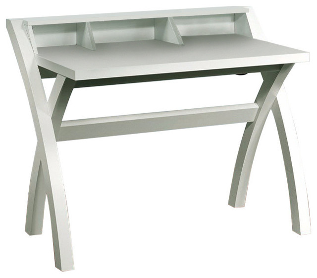 Charmant Sleek Contemporary Desk With Cross Legs, White