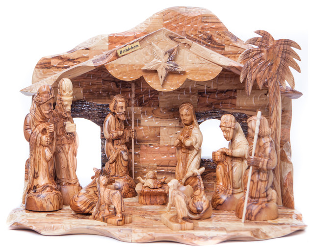 Olive Wood Nativity Set Traditional Holiday Accents