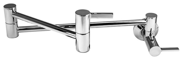 Modern Wall-Mount Pot Filler Faucet, Chrome.