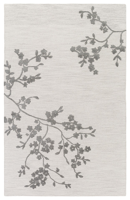 Buy Area Rugs Chiyah Ibo4449 Floral Rug, Ivory/gray, 5&x27;0x8&x27;0.