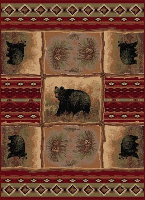 Sierra Bear Novelty Lodge Pattern Red Rectangle Area Rug, 8&x27; X 10&x27;.