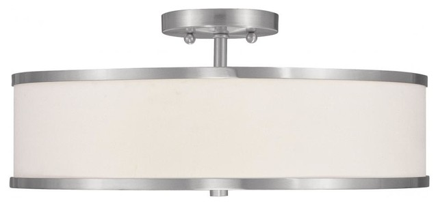 we got lites brushed nickel drum shade semi flush mount. Black Bedroom Furniture Sets. Home Design Ideas