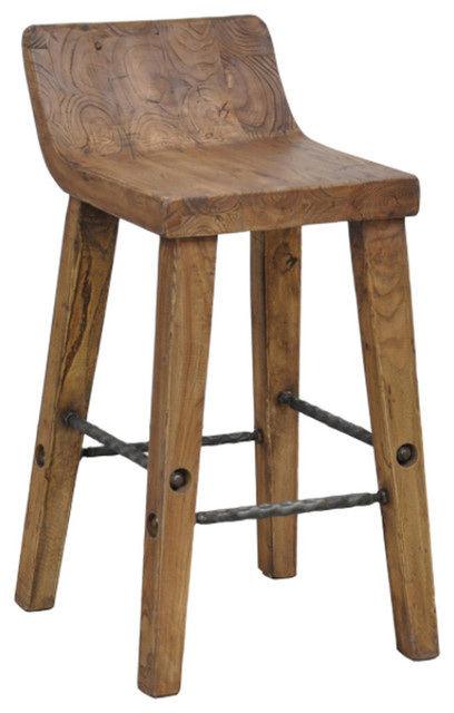 Teak Wood and Iron Counter Stool - Rustic - Bar Stools And Counter ...