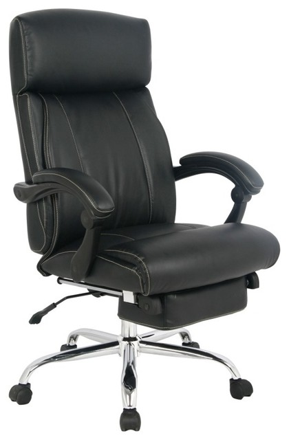 Chair Adjustable High Back Ergonomic Leather Napping Chair, Black