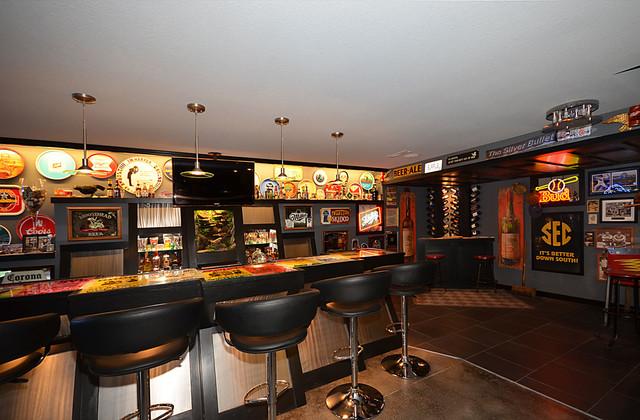man cave sports bar basement contemporary