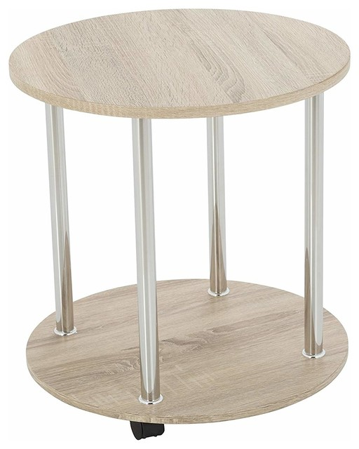 Modern Round Side Table Oak Effect Mdf With Lower Shelf And Casters Wheels
