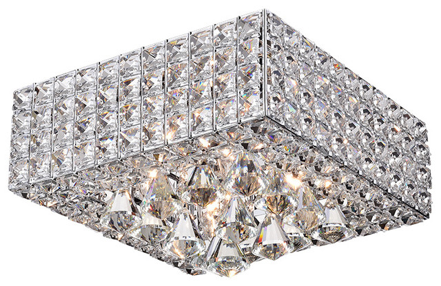 Sullin Crystal Square Ceiling Lamp, Chrome.