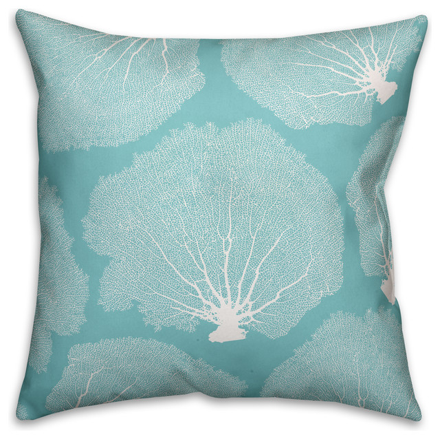 Teal Sea Fan Coral 18x18 Throw Pillow.