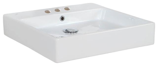 "Simple 50.50b Ada Wall Mounted/vessel Bathroom Sink In Ceramic White 19.7""."