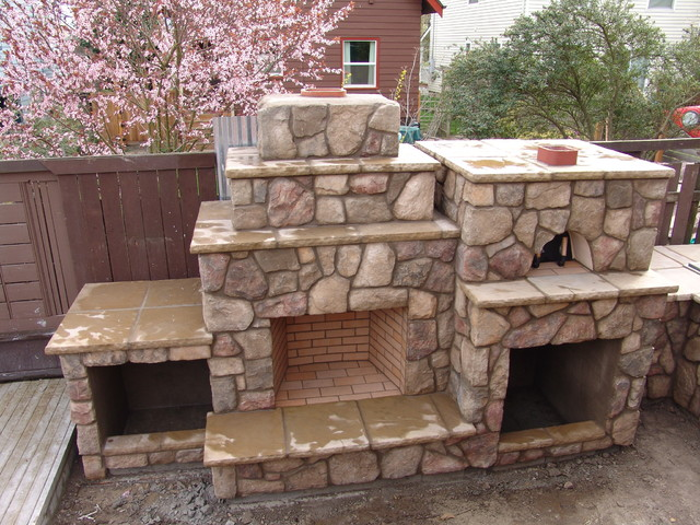 outdoor fireplace with pizza oven traditional portland by brown bros masonry. Black Bedroom Furniture Sets. Home Design Ideas