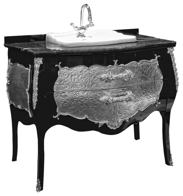 87051d8e8 Palace black silver bathroom vanity. Silver decoration.Swarovski crystals  inlaid - Traditional - Bathroom Vanities And Sink Consoles - by Secret Bath