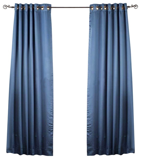 Indian Selections Blue Ring Grommet Top 90% blackout Curtain Drape ...