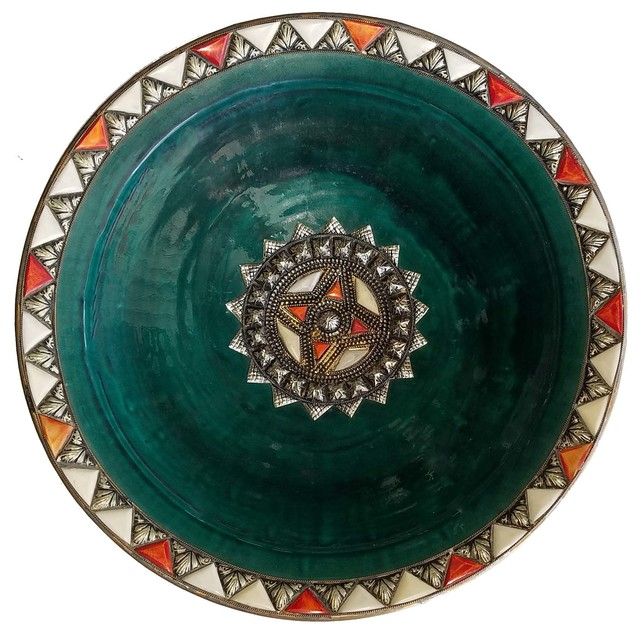 Moroccan Metal And Bone Inlay Ceramic Plate