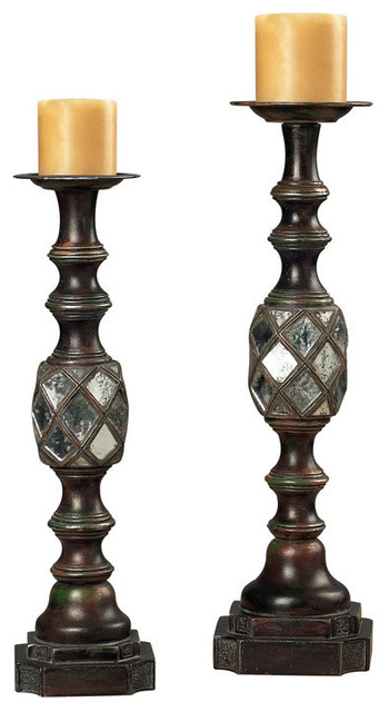 Sterling Industries 93-9229 Mirrored Candle Holders - Traditional - Candleholders - by Beyond Stores