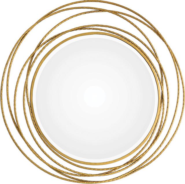 Whirlwind Gold Round Mirror, Gold.