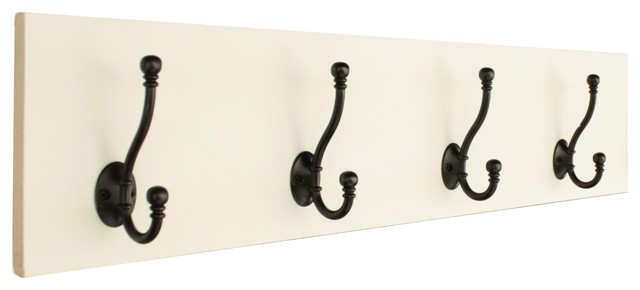 "Coat Rack With 5"" Double Hooks, Off-White, Distressed, 4 Hooks."