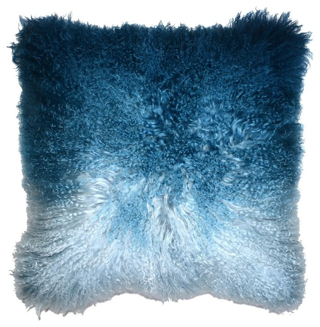 Aviva Stanoff Design Ombre Mongolian Fur Accent Pillow