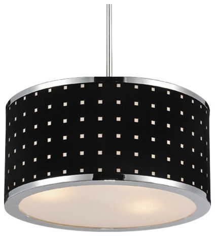 3 Light Chandelier With Chrome Finish.