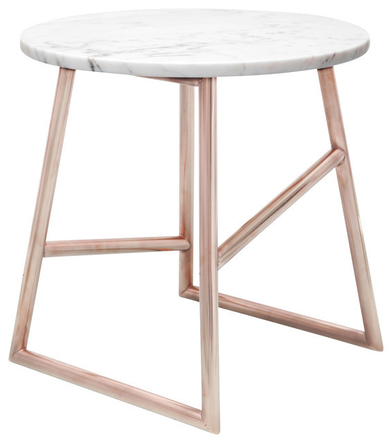 Algedi Table, Copper And MarbleContemporarySide Tables And