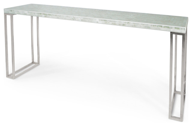 Evangeline Hollywood Regency White Glass Mosaic Console Table Transitional  Console Tables