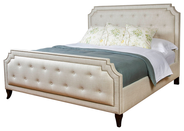 miller hollywood regency fawn upholstered cal king bed - Upholstered Queen Bed
