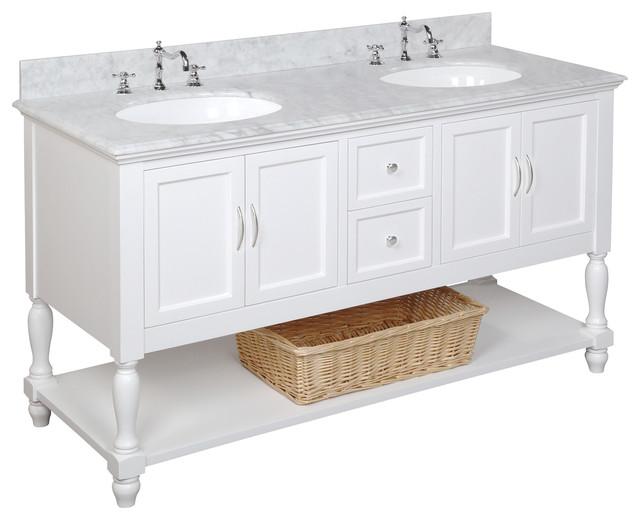 "Beverly 60"" Bath Vanity, Base: White, Top: Carrara Marble, Double Vanity"