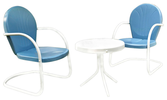 Griffith 3-Piece Metal Outdoor Conversation Seating Set, Sky Blue.