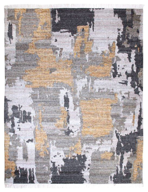 Handwoven Gold And Gray Tasseled Wool Area Rug Industrial Area