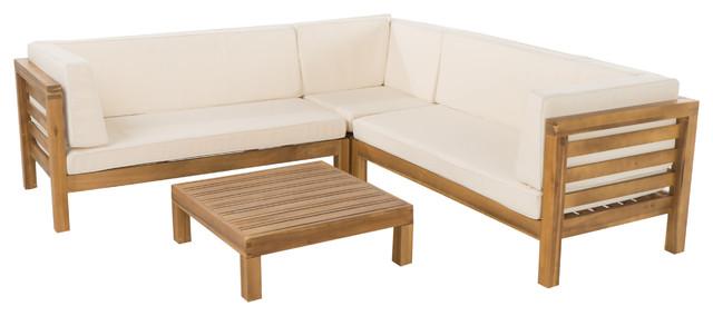 4-Piece Oana Outdoor Wooden Sectional Set, Teak, Beige