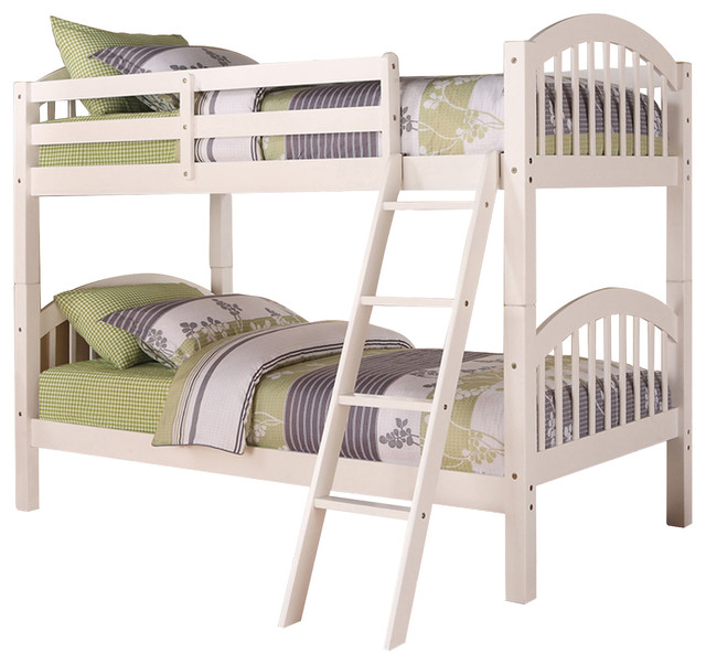 Beth Twin Over Twin White Finish Wood Country Style Arched Slat Bunkbed.