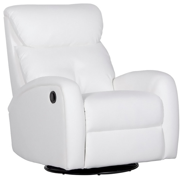 Dezmo Push Button Recliner Glider Arm Chair Bonded Leather Transitional  Recliner Chairs