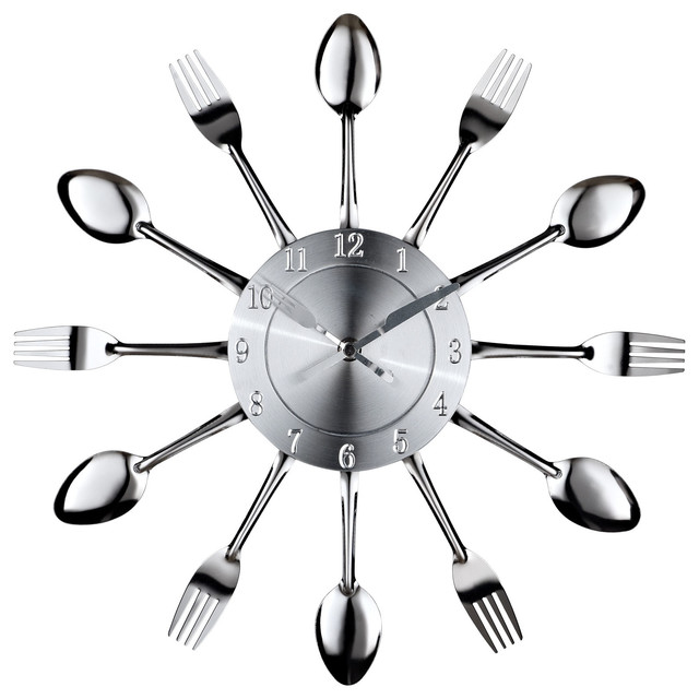 Modern Contemporary Living Room and Spoon Wall Clock Silver Wall