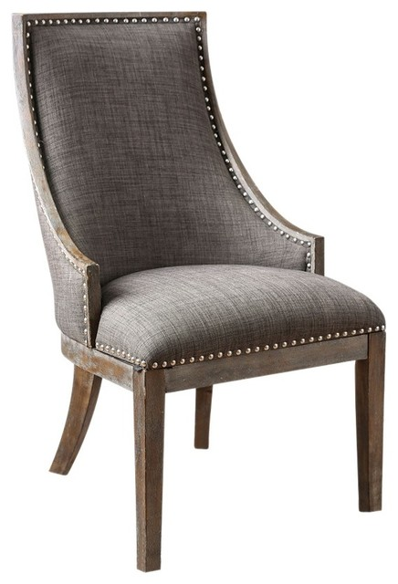 Fabric Upholstered Wooden Accent Chair With Nailhead Trim, Gray And Brown
