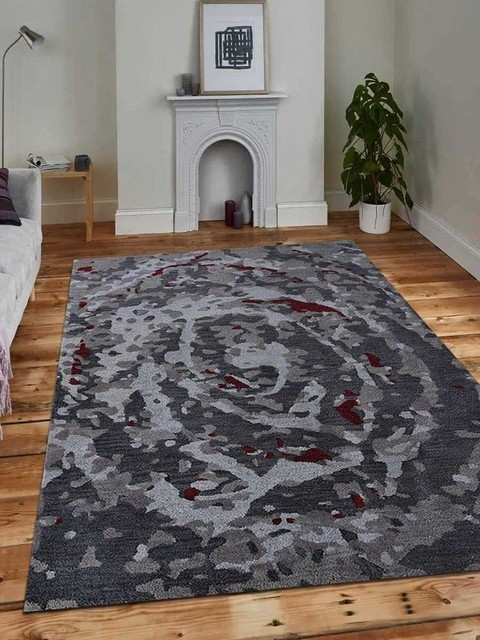 Hand Knotted Sumak Wool Area Rug Brown Rust Abstract Contemporary Area Rugs By Get My Rugs Llc