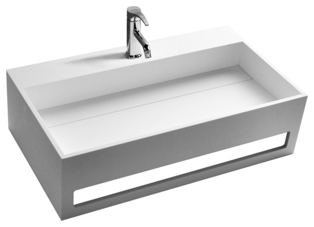 Adm Matte White Wall Hung Stone Resin Sink Modern Bathroom Sinks