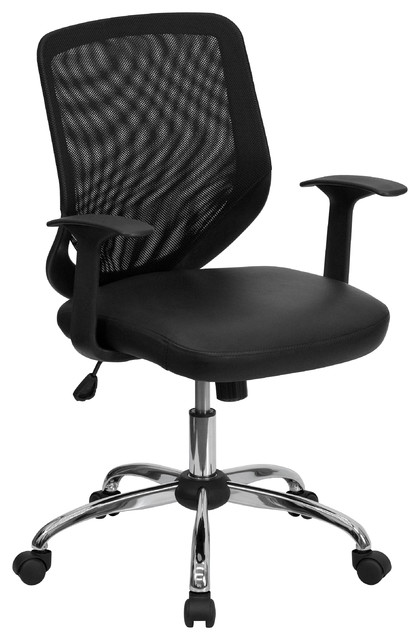 MFO Mid-Back Office Chair with Mesh Back and Leather Seat