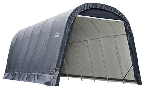 13&x27;x24&x27;x10&x27; Round Style Shelter, Gray.