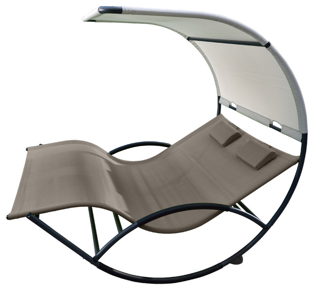 Vivere Ltd. - Double Chaise Rocker, Aluminum, Cocoa - View in Your Room! | Houzz