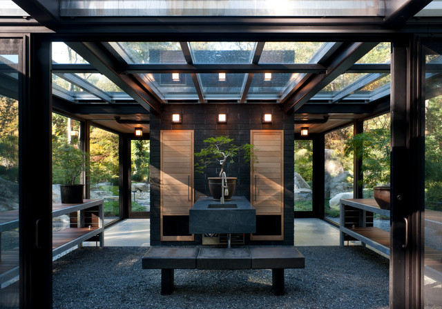 Glass House In The Garden Modern Garden Shed And