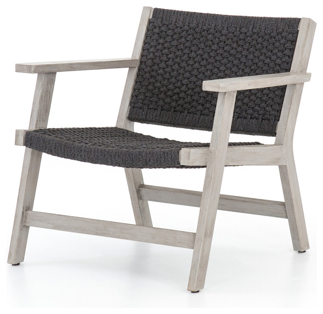 Four Hands Delano Outdoor Armchair, Weathered Gray and Dark Gray