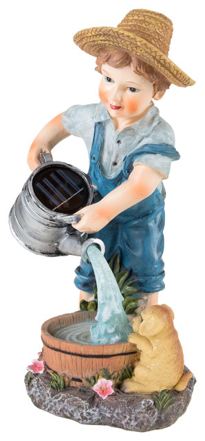 Little Boy Solar Powered Led Light Garden Statue By Pure