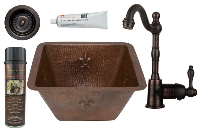 "15"" Square Fleur De Lis Copper Bar/prep Sink."