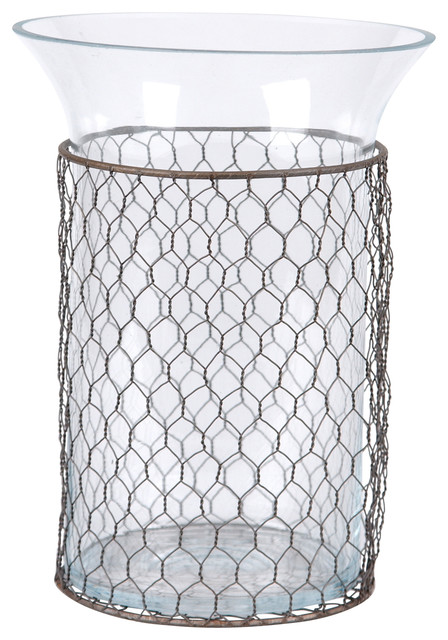 Chicken Wire Wrapped Glass Vase - Farmhouse - Vases - by Wilco Home