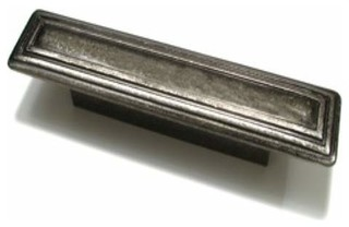 Richelieu Contemporary Rustic Rectangular Pull 96mm Western Pewter - Contemporary - Cabinet And ...