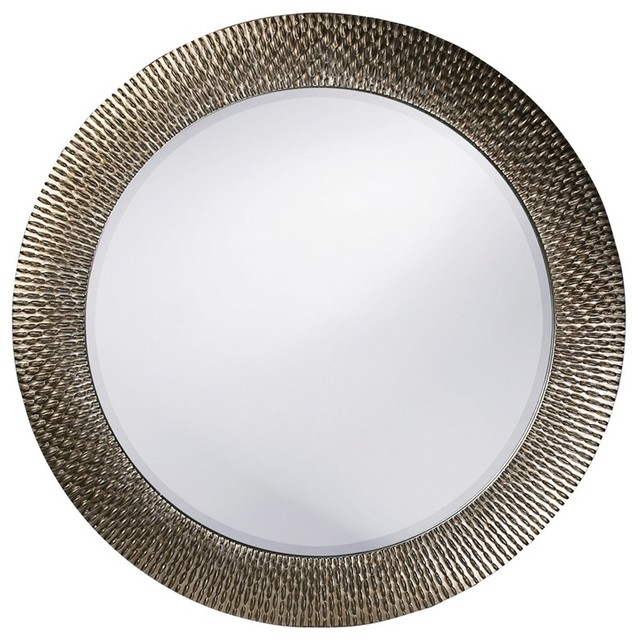 Bergman Round Brushed Silver Leaf With Black Highlights Mirror.
