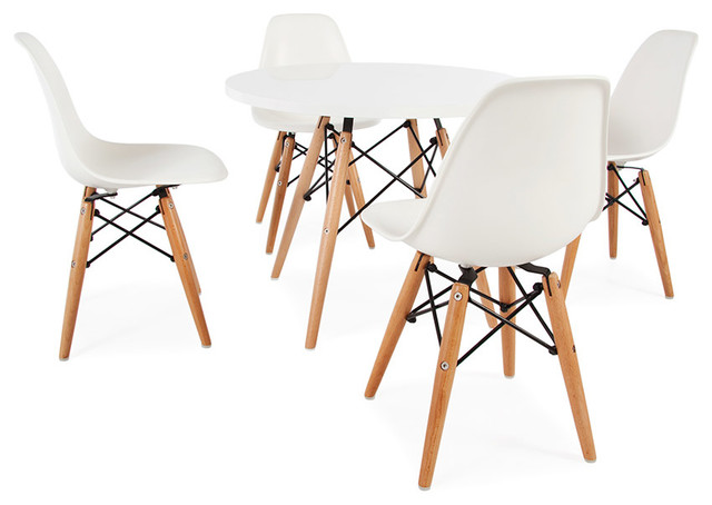 Mid Century Retro Kids Round White Table 4 Kids DSW Chairs – Vintage Kids Table and Chairs