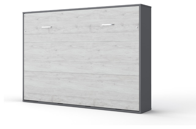 Invento Horizontal Murphy Bed, European Queen Size, Gray/White Monaco
